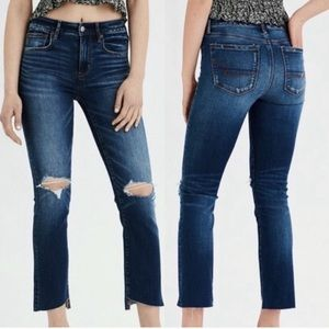 American Eagle Hi Rise Crop Flare Jeans Distressed